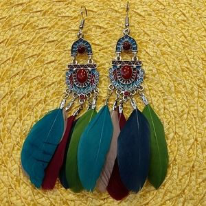 Jewelry - Boho native American Dangle Feathers Earring Gypsy